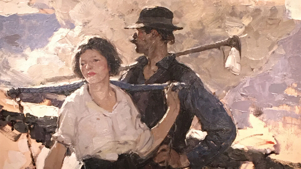 Dean Cornwell, (b. 1892, Louisville, KY; d. 1960, New York, NY), Farming Couple, n.d., Oil on board
