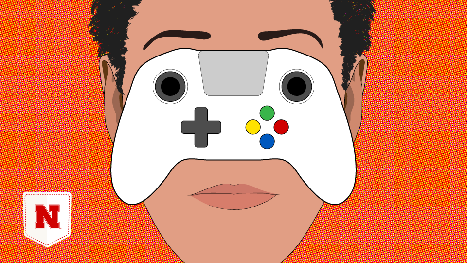 Illustration of gamer's face with eyes obscured by controller