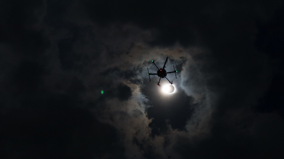 A University of Nebraska-Lincoln weather drone flies into the atmosphere during the solar eclipse Monday, Aug. 21, 2017.