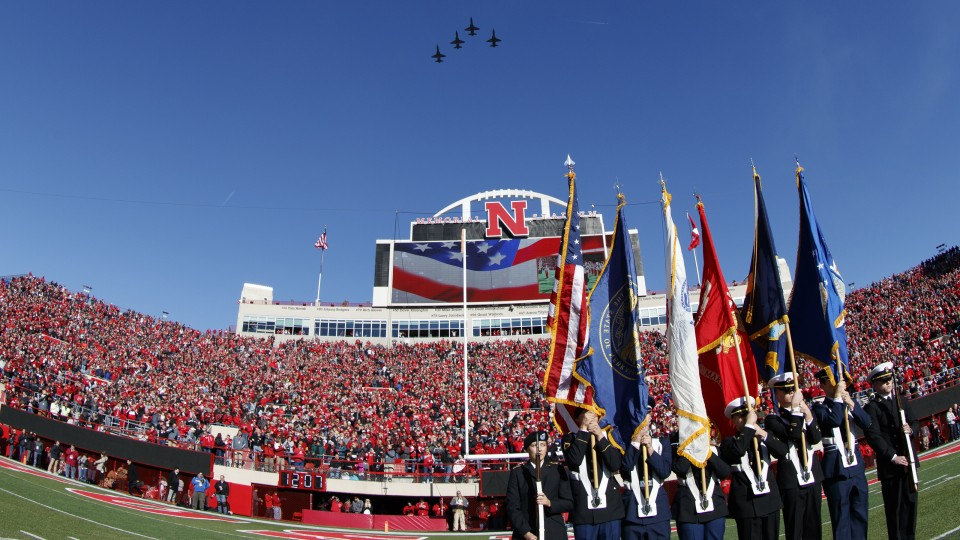 Air Force T-38 trainers fly over Memorial Stadium during the national anthem prior to the Cornhuskers game with the University of Maryland on Nov. 19.