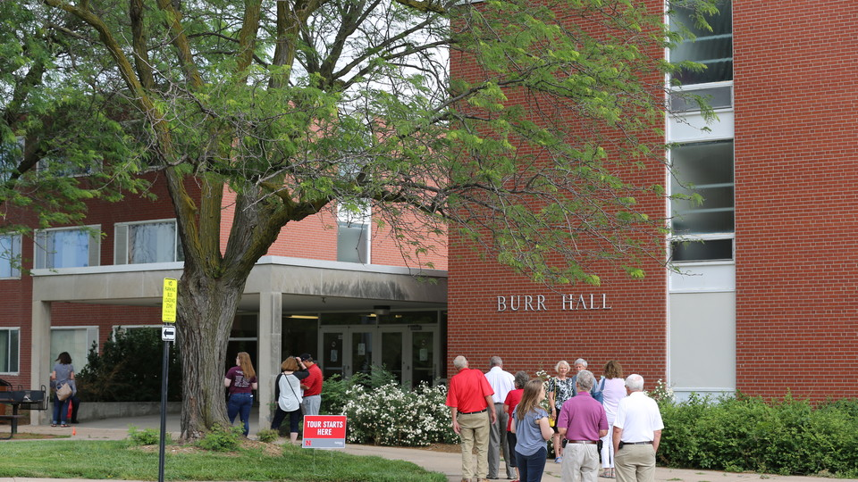 Huskers gather outside Burr Hall during the Burr-Fedde Hall celebration during the weekend of June 9.