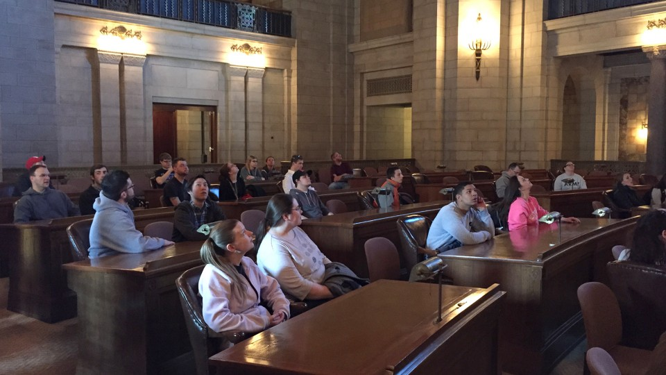 """Students in a """"History of Nebraska and the Great Plains"""" (HIST 360) class led by Ann Tschetter toured the Nebraska State Capitol on Feb. 13. Tschetter created a new course curriculum designed to get students thinking critically about state history."""