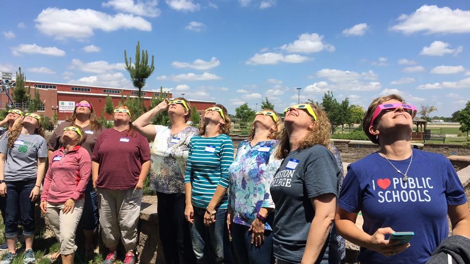 Nebraska educators learn how to safely view a solar eclipse during training at Raising Nebraska on June 1.