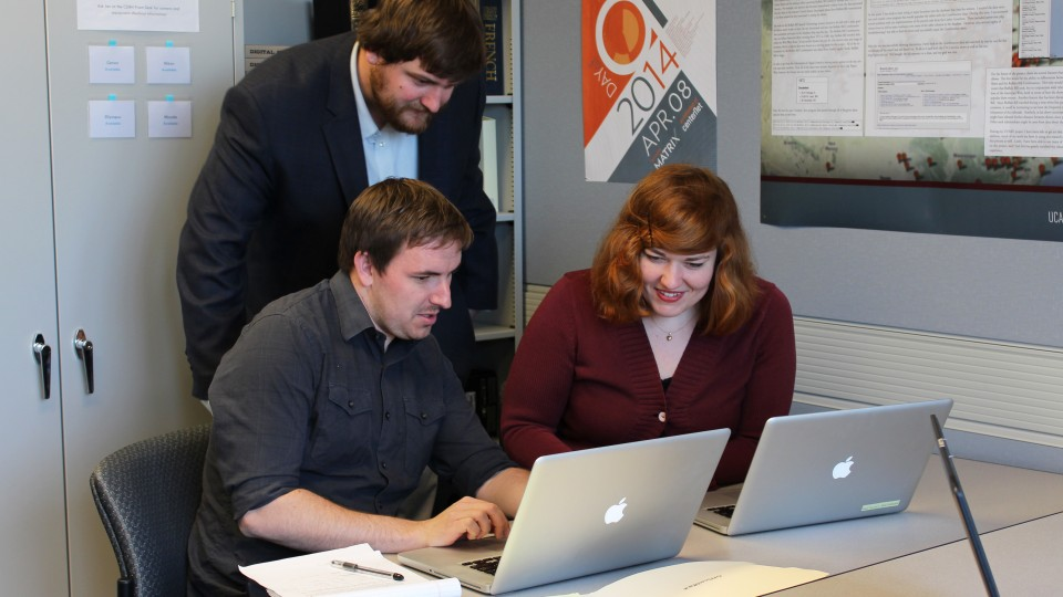 Kevin McMullen (left), Brian Sarnacki and Rebecca Ankenbrand are three of the inaugural  Digital Scholarship Incubator Fellows at UNL.