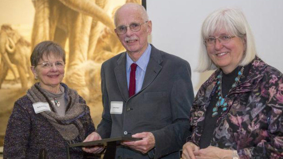 Robert Kaul (center) was presented the Anderson Award from the Friends of the State Museum in 2015. He is pictured with (left) Betty Anderson, the award's namesake, and Priscilla Grew, emeritus director of the museum.