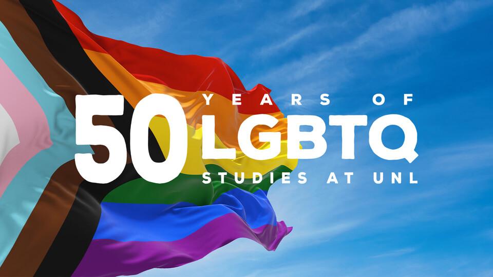 50 years of LGBTQ studies logo on a Pride flag