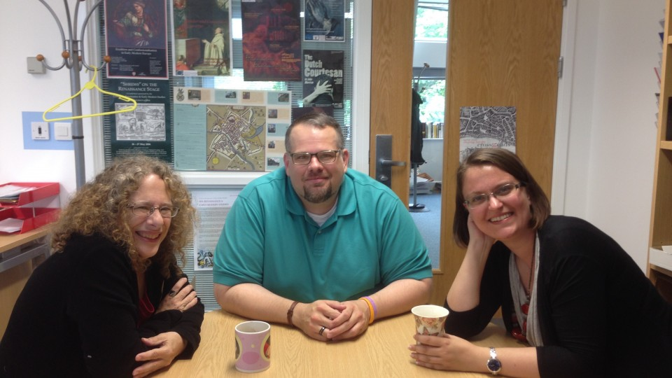 (From left) Carole Levin, chair of the medieval and Renaissance studies program, meets with University of York graduate student Dustin Neighbors and UNL graduate student Andrea Nichols at the University of York. While completing research under a Fulbright award last year, Levin forged an academic partnership between UNL and York's respective medieval and Renaissance studies programs.