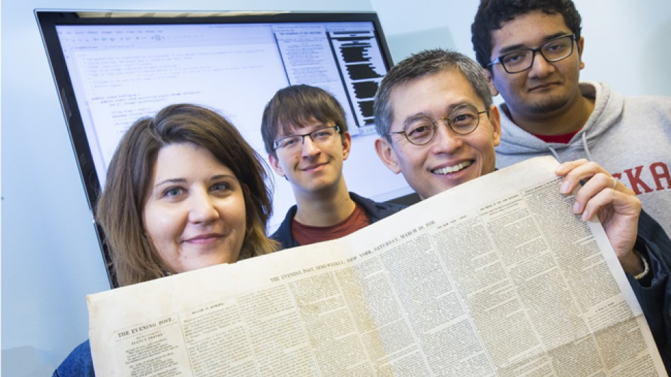 In the upper left corner of a 19th century newspaper is an example of poetry UNL's Elizabeth Lorang is researching.  She is collaborating with Leen-Kiat Soh, Associate Professor at the Computer Science and Engineering Department, and undergraduate students Spencer Kulwicki and Maanas Varma Datla who have developed software to search out and recognize the poetry from digitized newspapers.