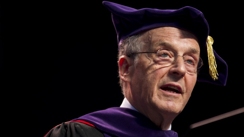Chancellor Harvey Perlman talks during the Aug. 16 All-University Commencement at Pinnacle Bank Arena.