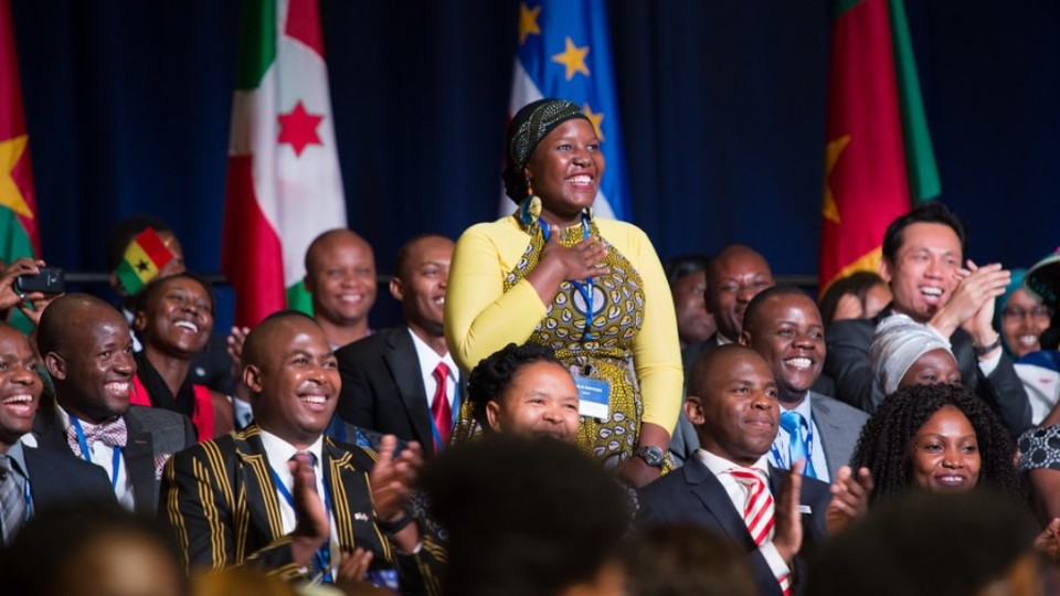 2015 Mandela Washington Fellows during a group summit.