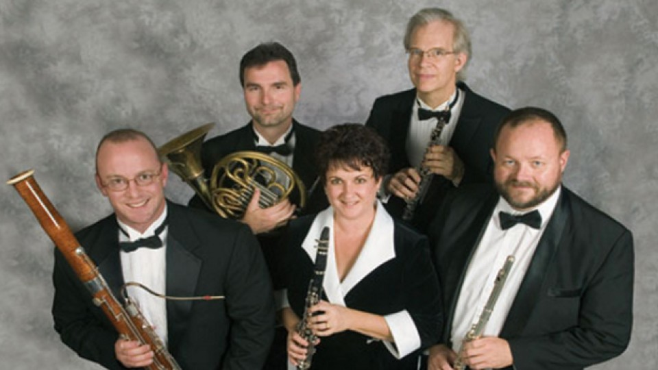 Moran Woodwind Quintet includes (clockwise from bottom left) Jeffrey McCray, Alan Mattingly, William McMullen, John Bailey and Diane Barger.