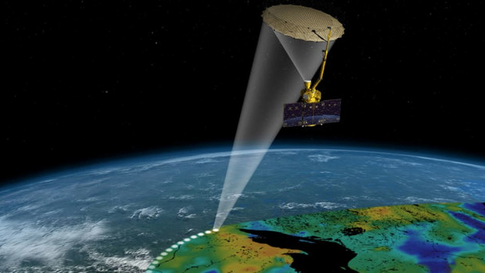 NASA's Soil Moisture Active Passive mission features an orbiting observatory that will measure water content of the top two inches of soil that is not frozen. UNL researchers are among the first to access data from the project.
