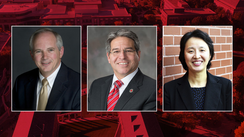 Finalists to become the next dean of Nebraska Engineering are (from left) David Ashley, Lance C. Pérez and Mei Wei. Campus interviews begin April 18.