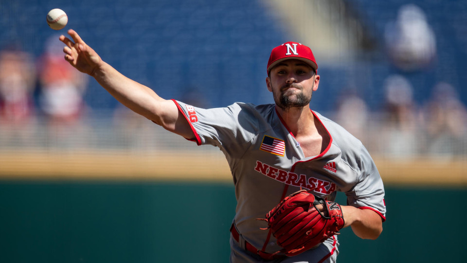 Nebraska starting pitcher Robbie Palkert delivers to home during the 2019 Big Ten Conference tourney in Omaha. The Huskers open NCAA tournament play this weekend in Oklahoma City.