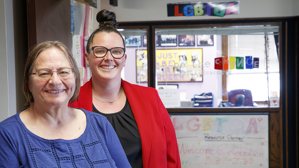 Pat Tetreault, director of the LGBTQA+ and Women's Centers, and Kara Brant, associate director for support and advocacy in Student Affairs, are ready to provide an enhanced network of support to students who visit the third floor of the Nebraska Union.