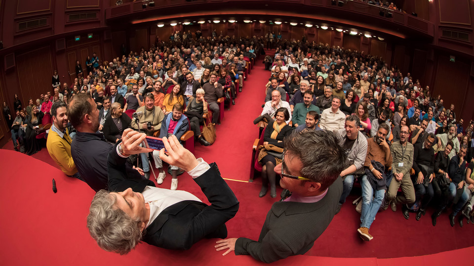 Director and screenwriter Alexander Payne shoots a photo of the audience during the 58th international Thessaloniki Film Festival on Nov. 7, 2017. Payne will be Nebraska's undergraduate commencement speaker on May 5.