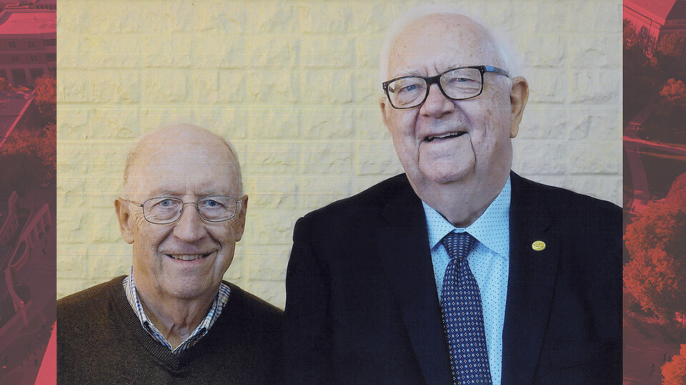 Photo of longtime colleagues John Woollam and David Sellmyer.