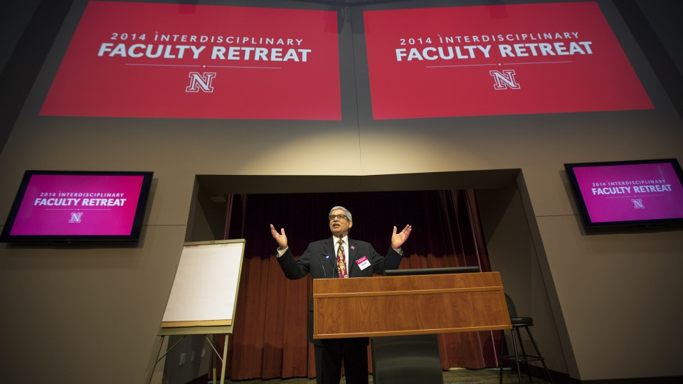 Prem Paul, retired vice chancellor for research and economic development, welcomes more than 300 faculty to the 2014 Interdisciplinary Faculty Retreat held at Nebraska Innovation Campus. Paul, who retired Aug. 29, died Sept. 2.