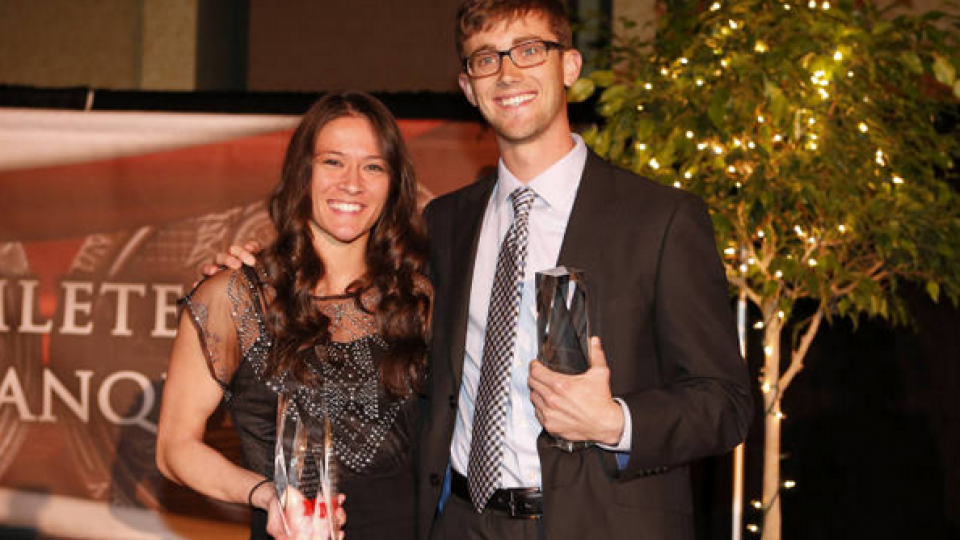 Huskers Emily Wong and Seth Wiedel are UNL's 2014 student-athletes of the year. The honors were presented at the Student-Athlete Recognition Banquet on April 13.