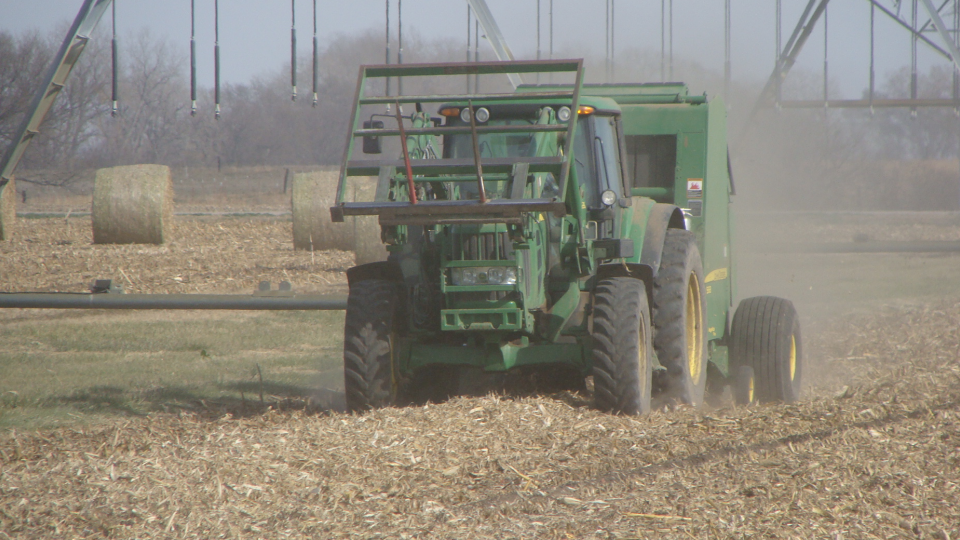 Baling corn residue at a University of Nebraska-Lincoln field experiment site in Saunders County, Neb.
