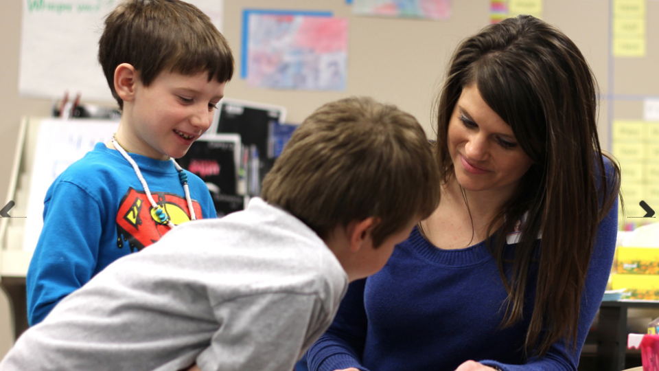 Alysia Augustus of Primarily Math Cohort 2 works with first- and second-graders at Anderson Grove Elementary in the Papillion-La Vista School District.