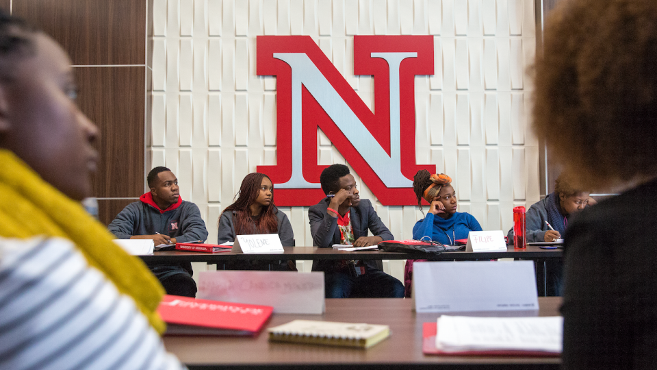 Visiting African students listen during a recent presentation. This is the third year that students from African have been embedded at UNL through the United States Institute on Civic Engagement.