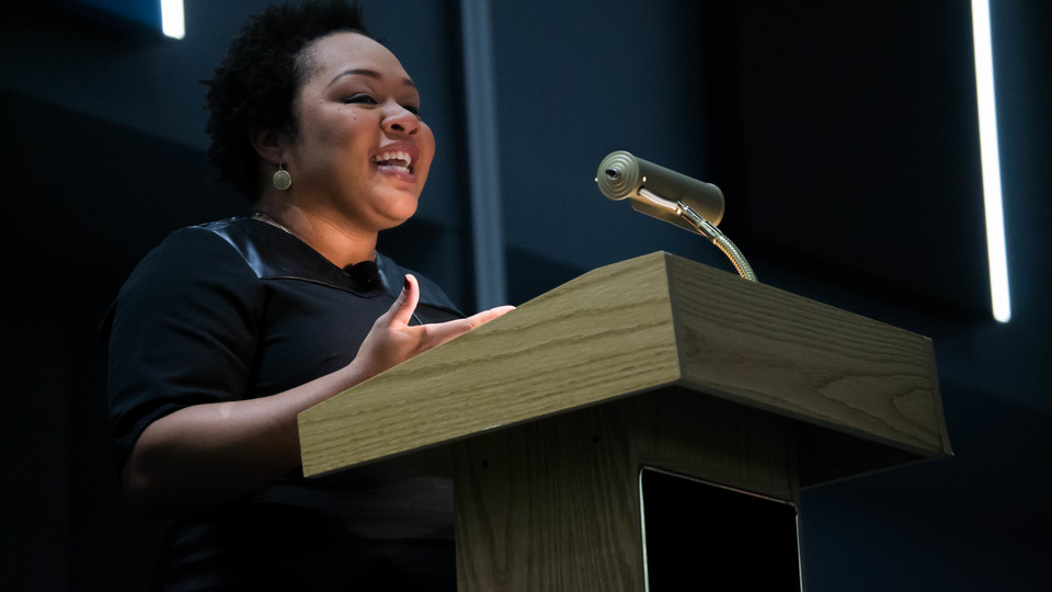 PBS Newshour White House correspondent Yamiche Alcindor delivers a lecture Nov. 29 in the Willa Cather Dining Complex.