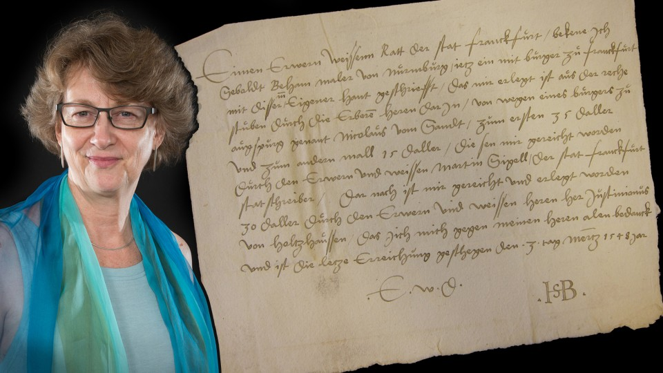 Alison Stewart, professor of art history, has discovered unpublished documents by Renaissance artist Sebald Beham. She found the documents (both receipts, one shown above) while conducting research for a book on Beham.