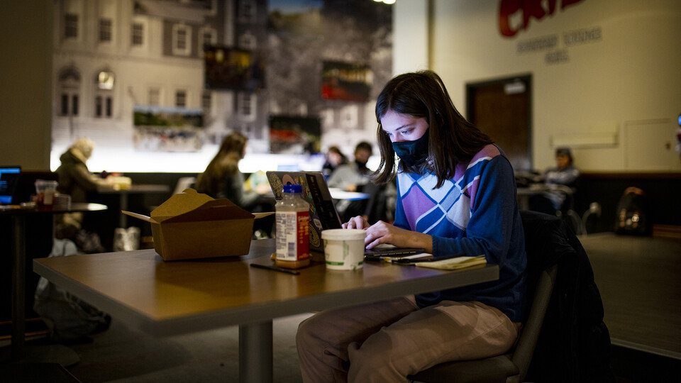 Student studying - Nebraska Union
