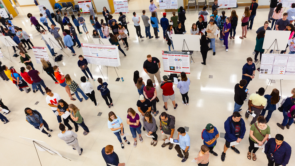 Nebraska students take part in a poster session in Howard L. Hawks Hall. More than 100 100 undergraduates from across the United States and Puerto Rico are getting a 10-week preview of graduate programs at Nebraska.