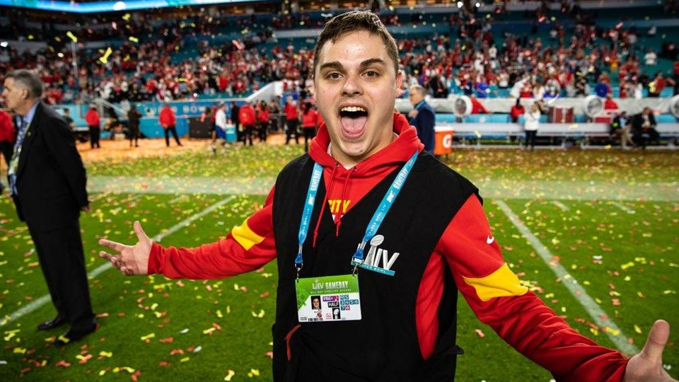 Ben Buchnat celebrates on the field after the Kansas City Chiefs won Super Bowl LIV. A 2019 journalism and mass communications graduate, Buchnat spent the NFL season working as a seasonal producer with the Chiefs.