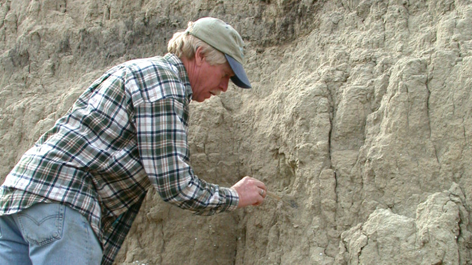 Steven Holen works to reveal a fossil. Holen and his wife, Kathleen Holen, are part of a research team that released information on humans arriving in North American 1,000 centuries earlier than previously believed.