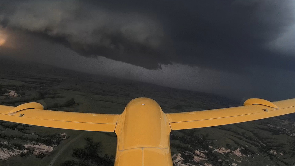 A drone used by the TORUS team maneuvers toward a supercell thunderstorm during the 2018 storm season.