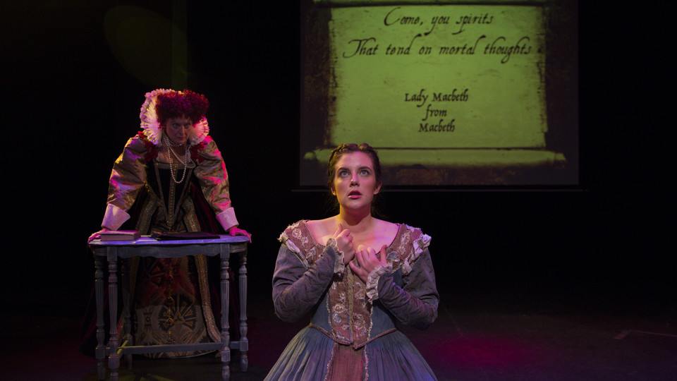 Tamara Meneghini, associate professor of theatre at University of Colorado (left), plays Queen Elizabeth I, while her lady-in-waiting (Colorado student Bernadette Venters-Sefic), in a performance written by Nebraska historian Carole Levin. The play will be performed at the University of Nebraska–Lincoln Feb. 25 and 26.