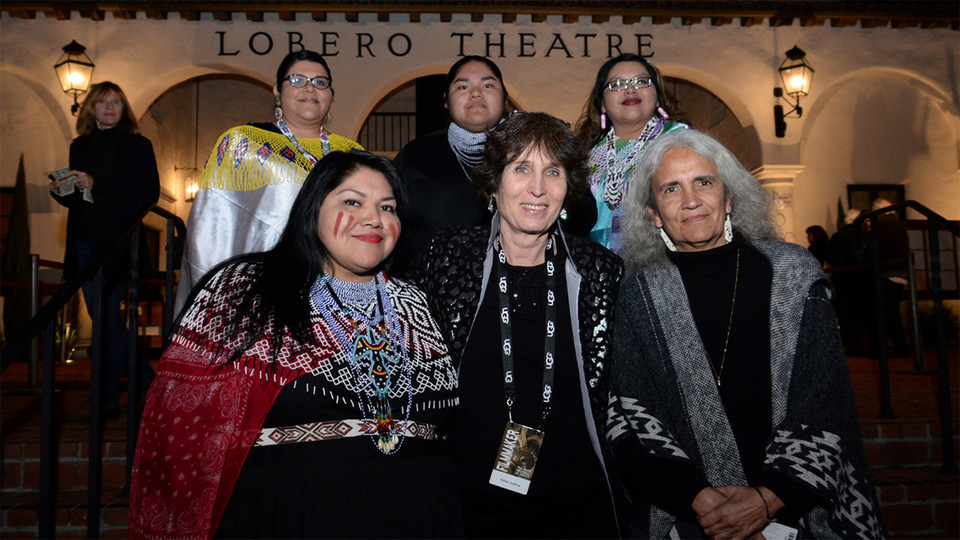 "Native American judges (all front) Claudette White (left) and Abby Abinati (right) pose with ""Tribal Justice"" filmmaker Anne Makepeace during the documentary premiere at the Lobero Theater in Santa Barbara. White and Makepeace will take part in Nebraska's Tribal Justice Forum on Nov. 27-28. Also pictured are White's relatives (from left) Dorena, Zion and Mary."