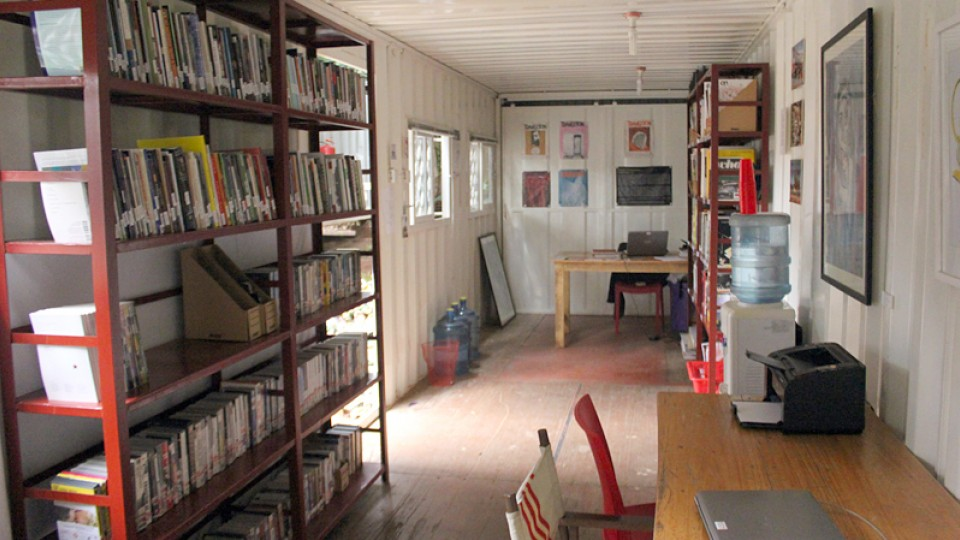 Interior of the Uganda Poetry Library in Kampala.