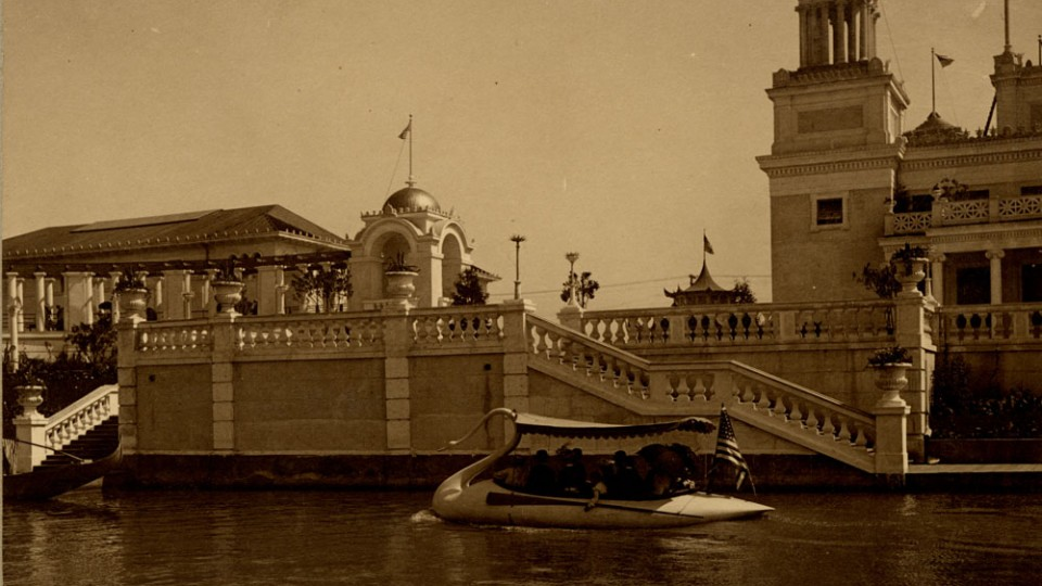 Picture of a Swan Boat at the 1898 Trans-Mississippi Exposition and International Exposition in Omaha. The fair is a backdrop for a new book by UNL's Timothy Schaffert.