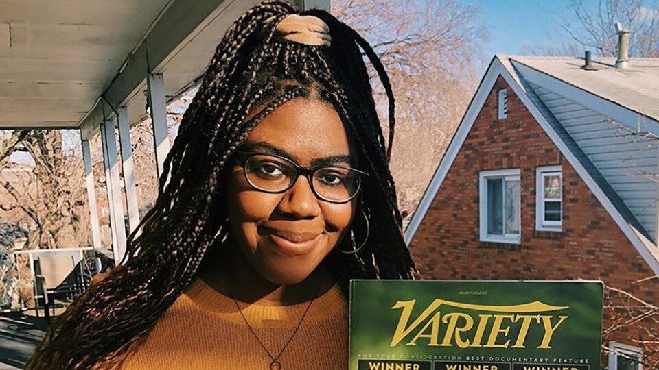 Jennifer Yuma holds a copy of Variety, the iconic entertainment industry magazine she is interning for this summer.