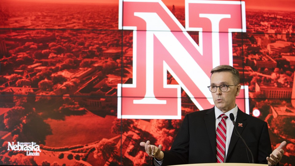 Ronnie Green talks during the April 6 announcement that he will serve as UNL's new chancellor.