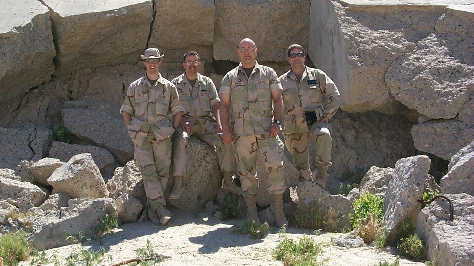 Lt. Cmdr. Mike Boehm (third from left) and members of the U.S. Navy Biological Research Directorate at Ali Al Salem Air Base in Kuwait, about 23 miles from the Iraqi border.