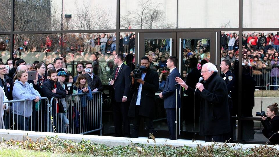 Students gather outside the Lied Center for Performing Arts on March 4 to see Democratic presidential candidate Bernie Sanders. An Oct. 24 gathering at the Nebraska Union will focus on what college students think the future of democracy looks like.