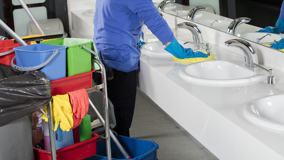 Due to the COVID-19 virus, university custodians are emphasizing cleaning in high-traffic areas and sanitizing key touch points.