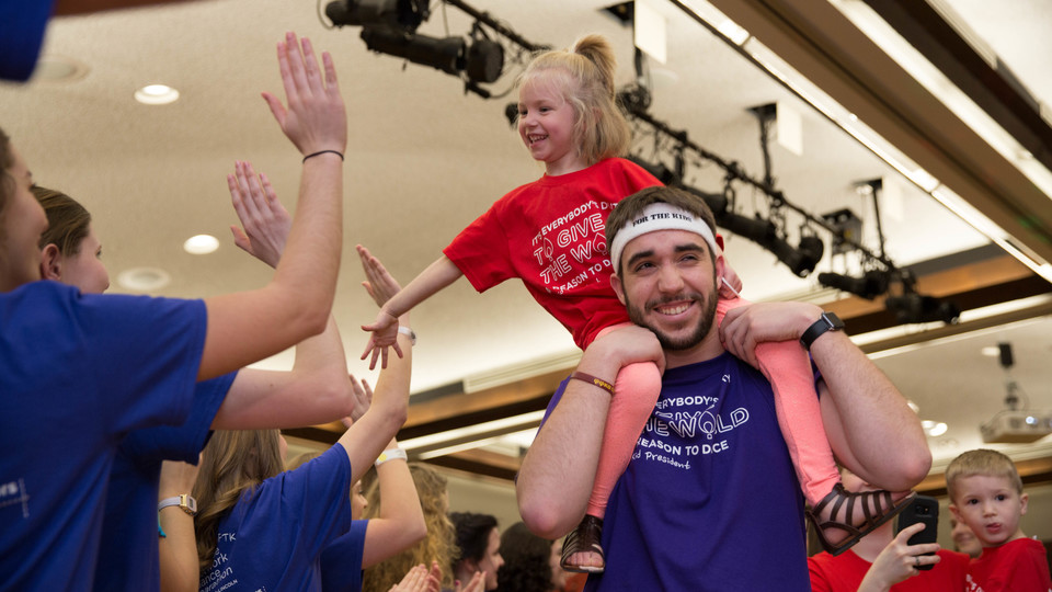 A young patient of Children's Hospital gets a dancing boost at the 2017 Huskerthon dance marathon, which raised $174,000 for the hospital. The 2018 event is slated for Feb. 17.