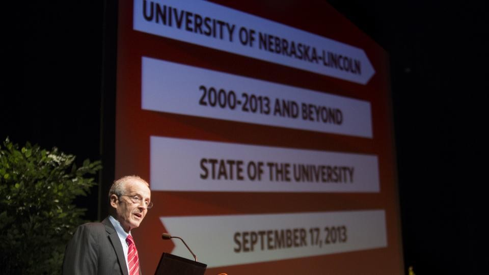 Chancellor Perlman during the 2013 State of the University address.