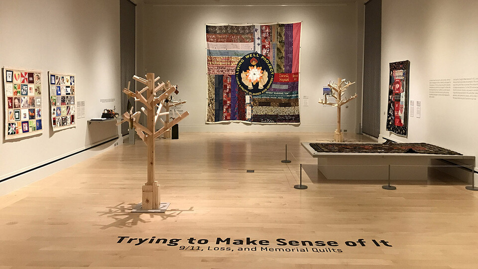 Gallery view of the 9/11 tribute exhibition at the International Quilt Museum.