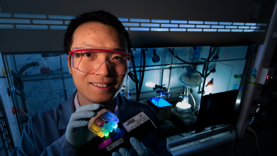 Jian Zhang, assistant professor of chemistry, recently earned a five-year, $527,154 Faculty Early Career Development Program Award from the National Science Foundation to develop an organic-based catalyst that uses the sun's energy to facilitate chemical reactions. His work could one day lead to cleaner fuel production.