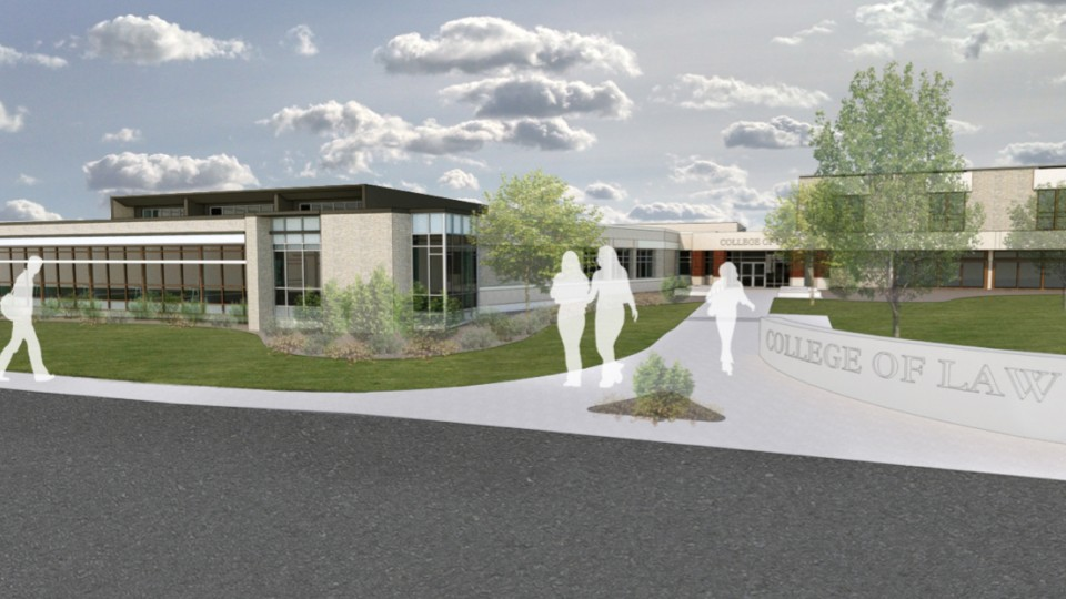 A $4.5 million addition (shown here in an architecture rendering) is planned for the south side of the Nebraska College of Law. The addition will house the college's four legal clinics and allow for expansion of those programs.