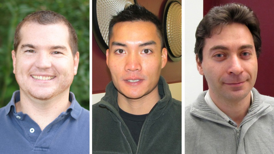 UNL students receiving the 2014 Graduate Research Fellowships from the Nebraska Center for Materials and Nanoscience are Timothy Martin, Dimitry Papkov and Chieu Van Nguyen.