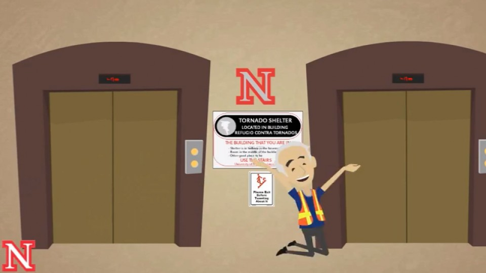 "The ""Really Obvious"" preparedness guy discusses tornado warning procedures in one of the new UNL Police videos. The series includes nine videos ranging from 30 to 60 seconds."
