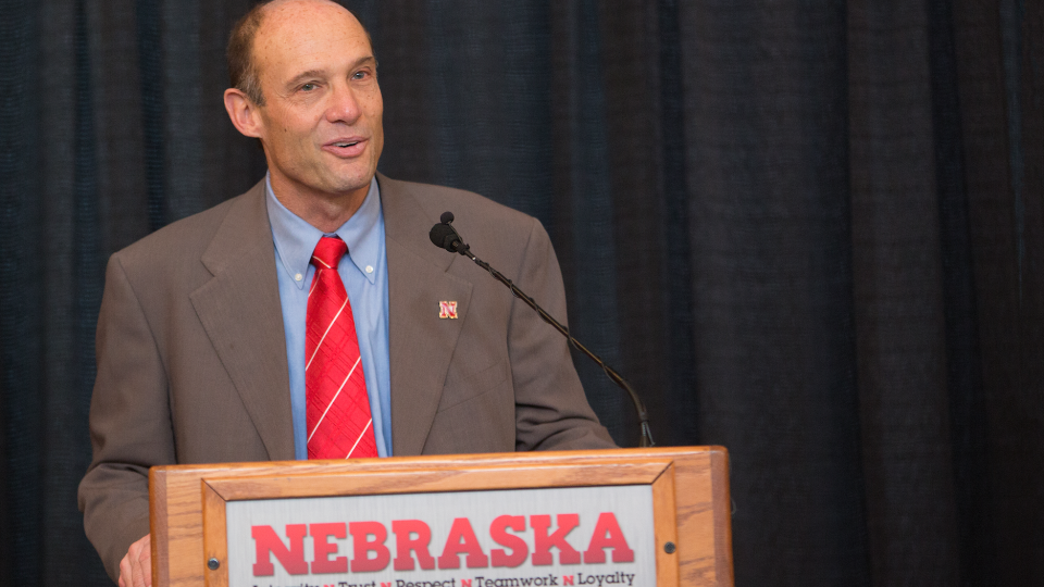 Husker football coach Mike Riley talks at his Dec. 5 introductory news conference.